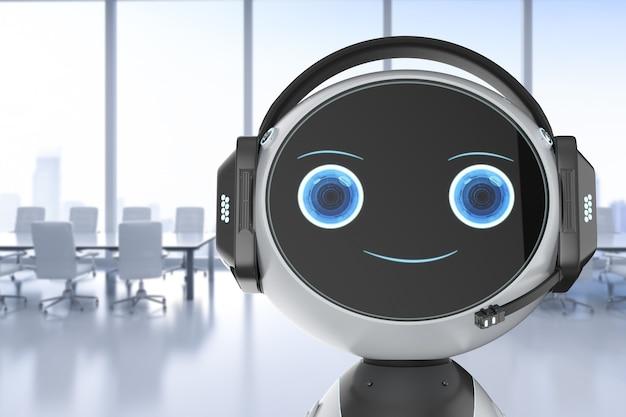 Концепция обслуживания клиентов автоматизации с помощью 3d-рендеринга робота с гарнитурой