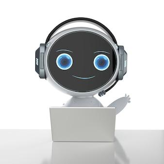 Концепция обслуживания клиентов автоматизации с роботом, работающим с гарнитурой и ноутбуком