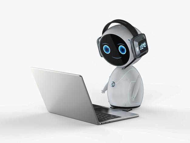 Автоматизация обслуживания клиентов с помощью робота, работающего с ноутбуком
