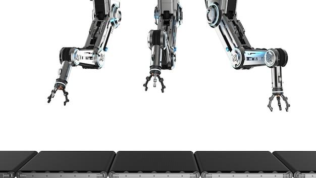 Концепция завода автоматизации с 3d-рендерингом сборочной линии роботов с пустой конвейерной лентой