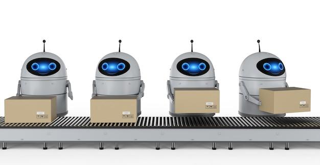 Концепция завода автоматизации с роботом-рендерингом 3d с коробками на конвейерной линии на заводе