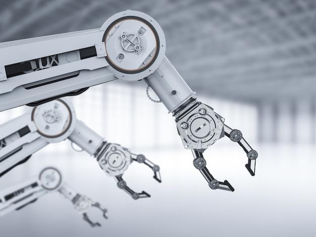 공장에서 3d 렌더링 로봇 팔이 있는 자동화 공장 개념
