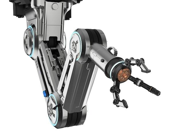 3d 렌더링 로봇 팔이 있는 자동화 공장 개념