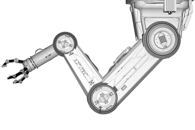 흰색으로 격리된 3d 렌더링 와이어프레임 로봇 팔이 있는 자동화 공장 개념