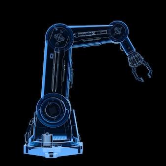 검정에 격리된 3d 렌더링 x선 로봇 팔이 있는 자동화 공장 개념