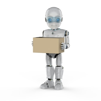 Automation factory concept withâ3d rendering robotic boy with cardboard box on white background