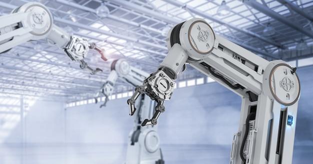 공장에서 3d 렌더링 로봇 조립 라인이 있는 자동화 산업 개념