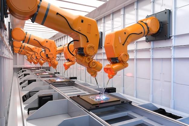 工場にロボット組立ラインを備えたオートメーション産業