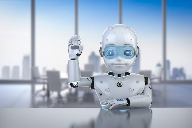 3d 렌더링 귀여운 로봇 인사말 자동화 회사원 개념