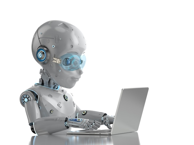 흰색 배경에 격리된 컴퓨터 노트북과 함께 3d 렌더링 귀여운 로봇이 있는 자동화 회사원 개념