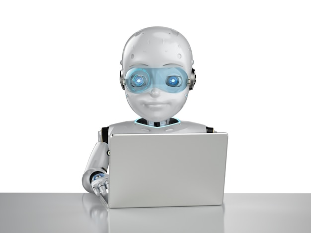 Automation office worker concept with 3d rendering cute robot work with computer notebook isolated on white background