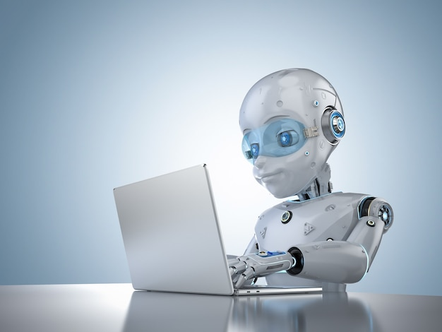 3d 렌더링 귀여운 로봇이 컴퓨터 노트북과 함께 작동하는 자동화 사무실 작업자 개념