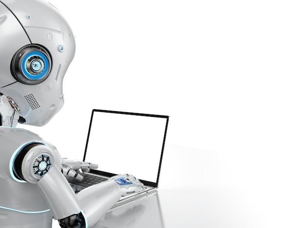 흰색 배경에 격리된 빈 화면 컴퓨터 노트북을 사용하여 3d 렌더링 귀여운 로봇이 있는 자동화 회사원 개념