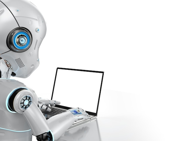 Automation office worker concept with 3d rendering cute robot work with empty screen computer notebook isolated on white background
