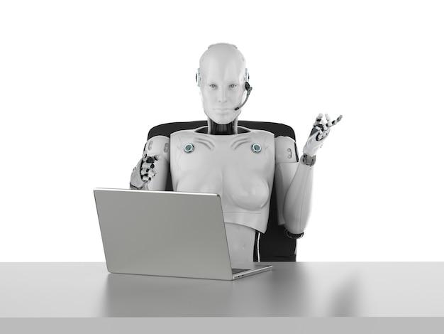 Концепция офисного работника автоматизации с 3d-рендерингом женского киборга или робота, работающего на компьютерном ноутбуке