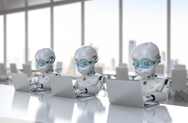 Automation office worker concept with 3d rendering group of cute robots work with computer notebook