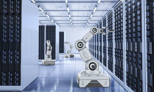 ロボットアームの3dレンダリンググループを備えた自動化サーバールームはサーバールームで動作します