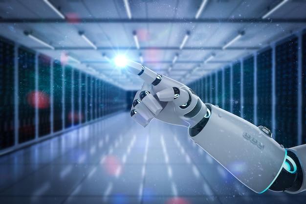 サーバールームで動作するロボットを備えた自動化サーバー