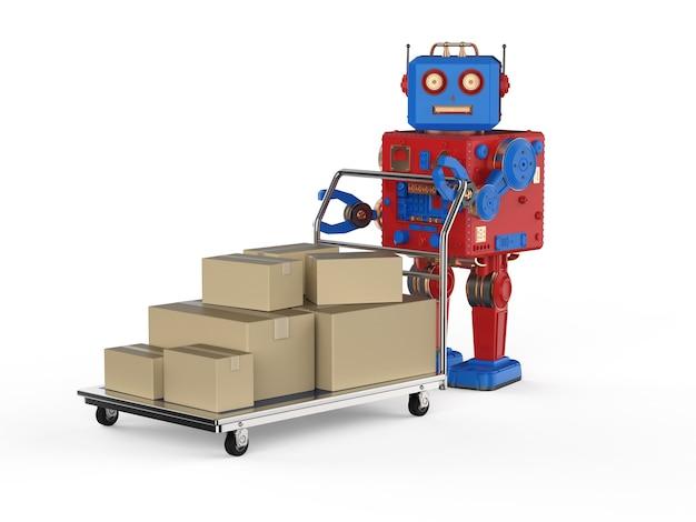 판지 상자가 있는 3d 렌더링 로봇이 있는 자동화 창고 개념