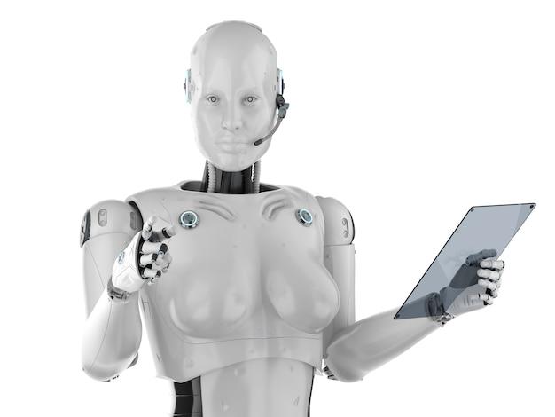 Концепция работника автоматизации с 3d-рендерингом женского киборга или робота со стеклянным планшетом