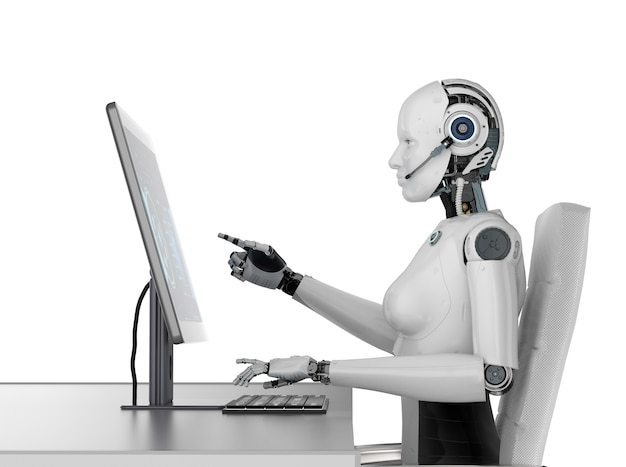 Концепция работника автоматизации с 3d-рендерингом женского киборга или робота, работающего на настольном компьютере