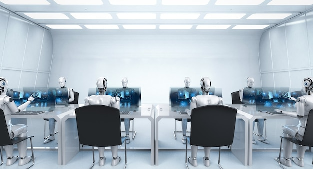 Automation worker concept with 3d rendering female cyborgs working in office