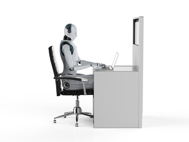 Automation worker concept with 3d rendering robot working in office