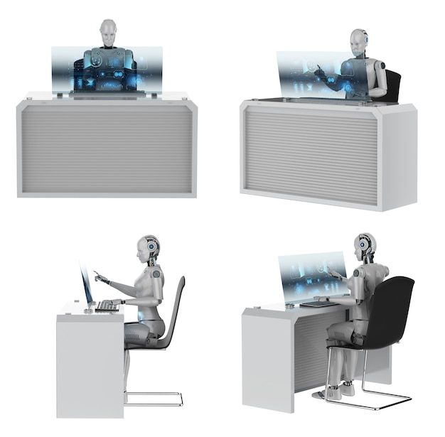 Automation worker concept with 3d rendering set of cyborgs working in office