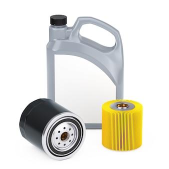 흰색 바탕에 검정색 하우징에 있는 자동차 모터 오일 플라스틱 용기, 필터 요소 및 새 오일 필터. 3d 렌더링