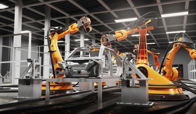 Линия по производству автомобилей с использованием роботов для работы на умных заводах. 3d иллюстрация