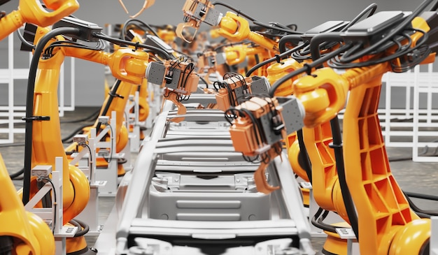 Automobile production line using robots to work in smart factories. 3d illustration