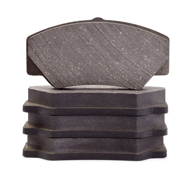 Automotive disk brake pad isolated on white
