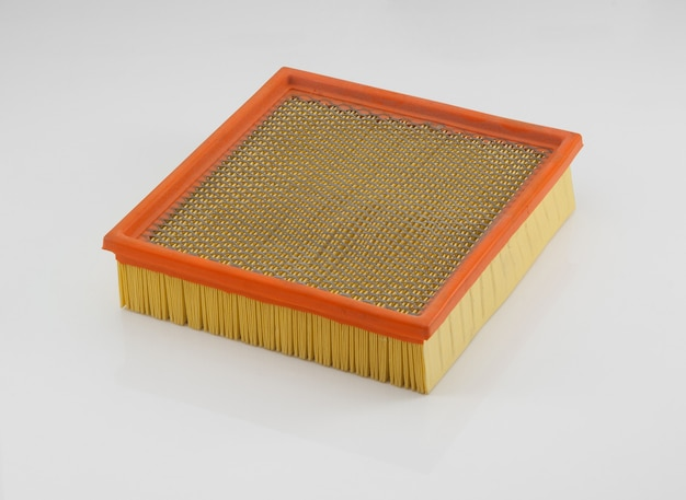 Automotive filter square shape orange on a white background