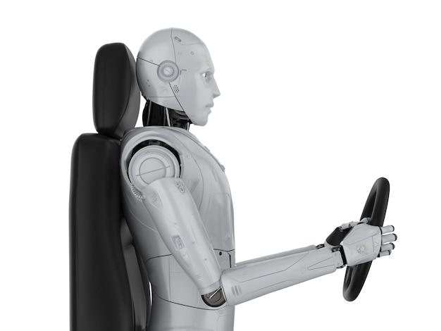 Концепция автономного автомобиля с 3d-рендерингом робот держит рулевое колесо, изолированное на белом