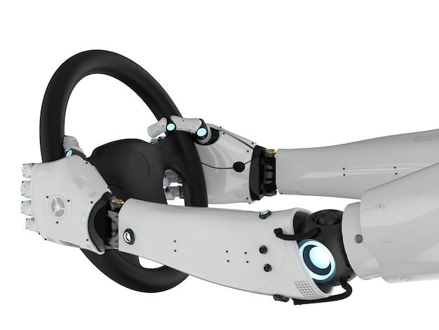 Концепция автономного автомобиля с рулевым колесом, удерживаемым рукой-роботом