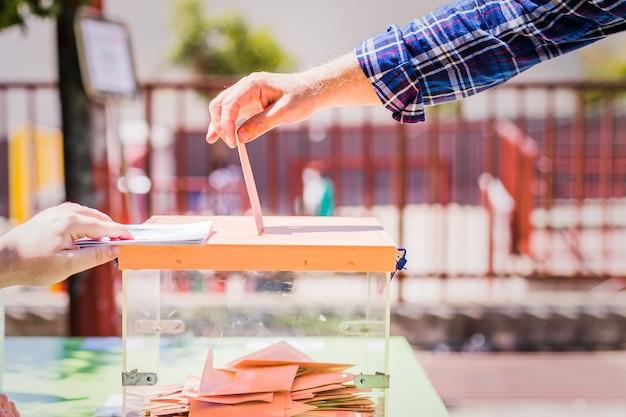 Autonomous community of madrid elections democraty referendum for government vote hand posing an env...