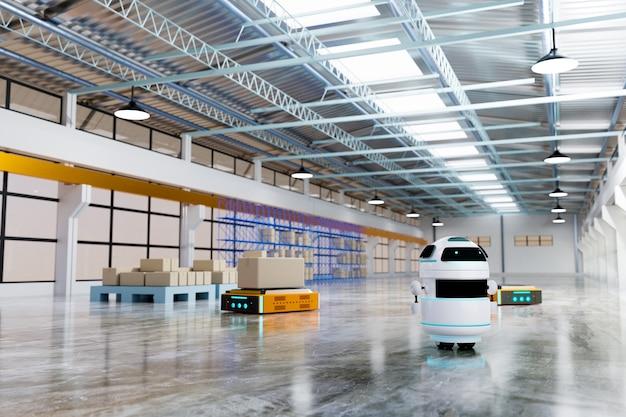 Автономная доставка роботов с интеллектуальным управлением, рендеринг 3d иллюстраций