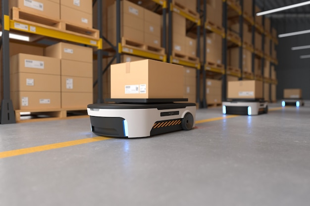 Автономная транспортировка роботов на складах, концепция автоматизации склада. 3d иллюстрации
