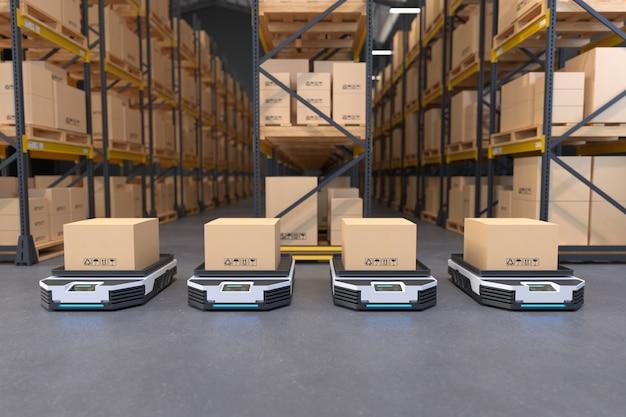 창고의 자율 로봇 운송 창고 자동화 개념