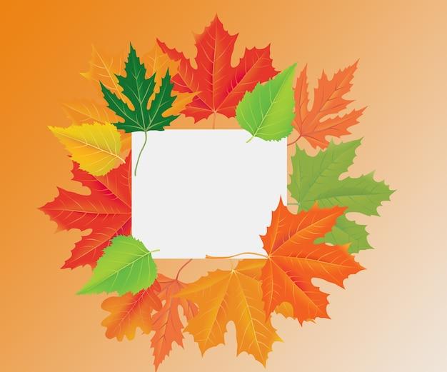 秋の色の葉のフレームデザイン