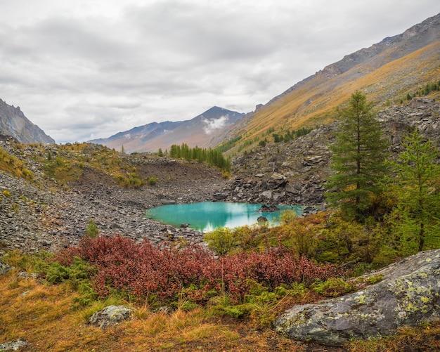 曇り空の下の大きな山から高原の谷の小川と美しい浅い山の湖と秋の高山の風景。アルタイの雨のミドルシャブリン湖。