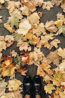 가을과 가을 구성. 말린 된 단풍에 서있는 검은 부츠에 여자입니다. 노란 단풍 잎