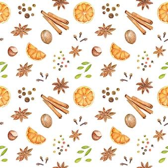 手描きの水彩グリューワインの成分と秋と冬のシームレスなパターン。