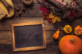 Autumn arrangement with chalkboard frame