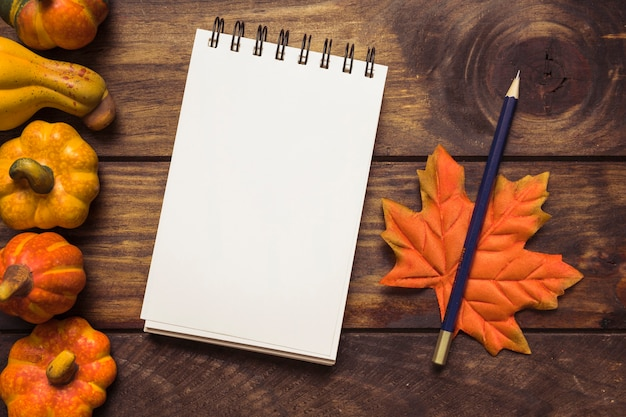 Autumn arrangement with notepad and pumpkins