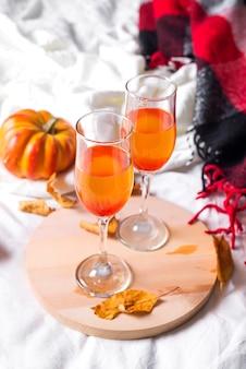 Autumn arrangement with wine
