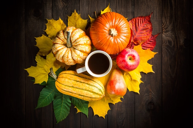 Autumn backdrop decoration with pumpkins, marrow, apple, pear, cup of coffee and colorful leaves on dark wooden background.