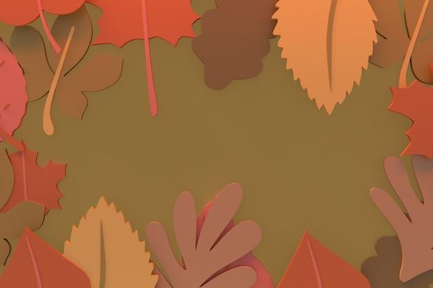 Осенний фон, осенние листья 3d рендеринг иллюстрации
