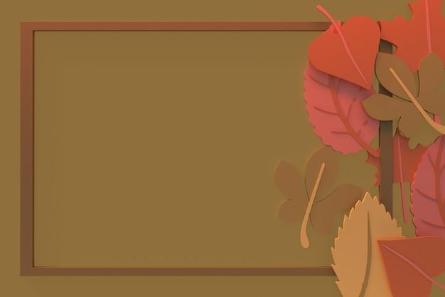 Осенний фон, осенние листья с рамкой 3d рендеринга иллюстрации