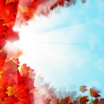 秋の背景の境界線。赤い葉と空